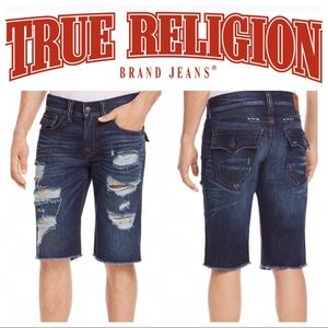 True Religion Ricky Relaxed Fit Distressed Shorts